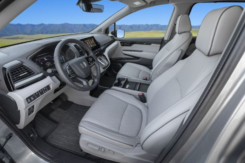 COURTESY HONDA - It is easier to step into the 2021 Honday Odyssey than an SUV, and the front seats are both comfortable and supportive.