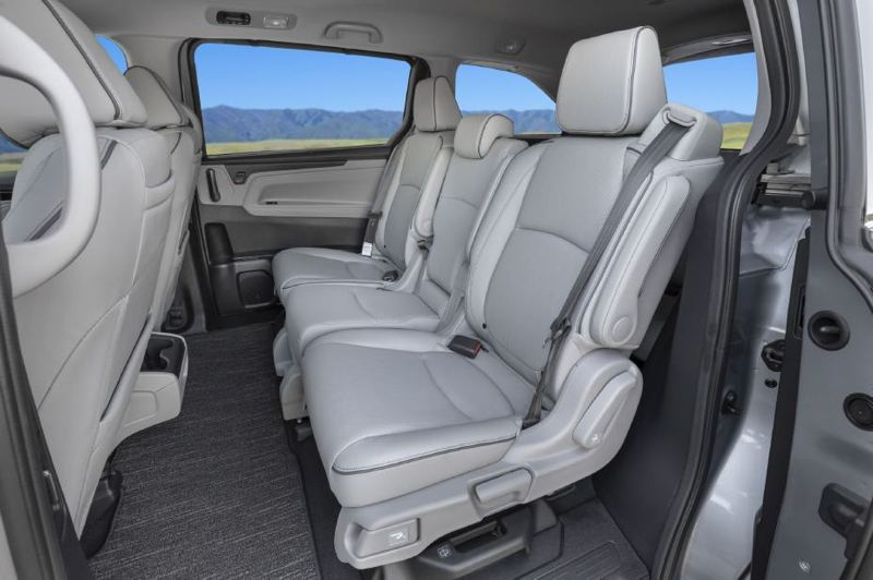 COURTESY HONDA - The second row of seats in the 2021 Honday Odyssey can be configued for up to three adults, and they fold forward for easy access to the third row.