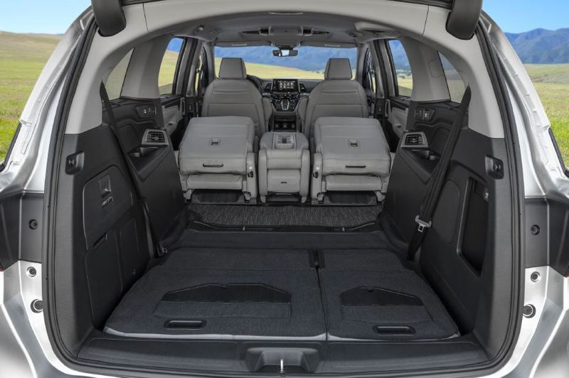 COURTESY HONDA - There is a tremendous amount of cargo space in the 2021 Honda Odyssey with the second row of seats folded forward and the third row folded into the floor.