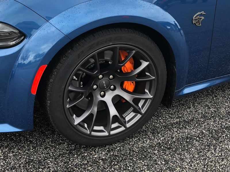 PMG PHOTO: JEFF ZURSCHMEIDE - The tires are wider than usual, owing to extra fender flares Dodge has added to the 2021 model, making it a 'widebody.'