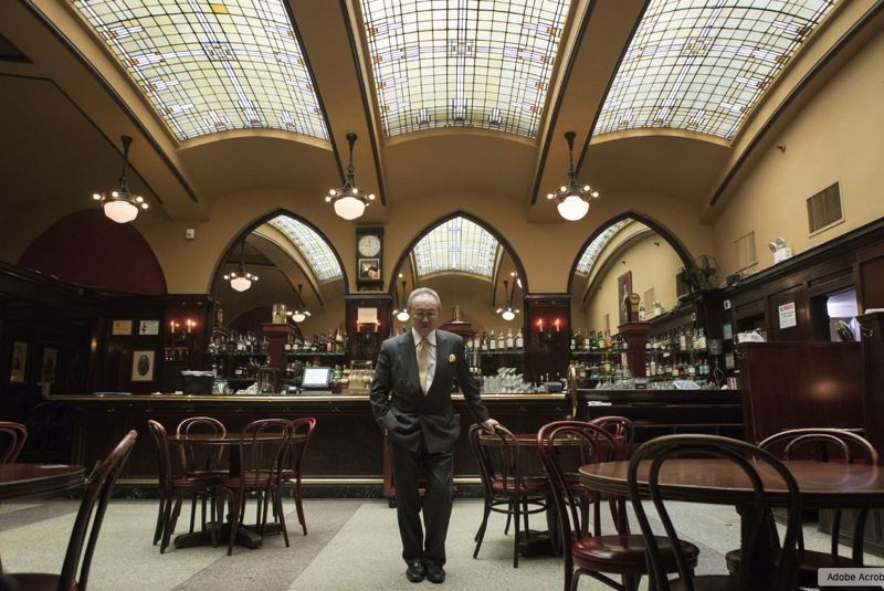PMG PHOTO: JAIME VALDEZ - James Louie, co-owner of Huber's Cafe, stands in the naturally lit bar of his family's restaurant. Founded in 1879, it is Portland's oldest restaurant., but maybe not for much longer.