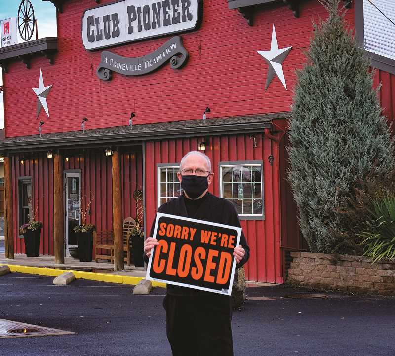 PHOTO SUBMITTED BY JIM ROTHS - Jim Roths, owner of Club Pioneer and Dillon's Grill, posted a photo on social media letting people know that his restaurants will be closed during the two-week freeze.