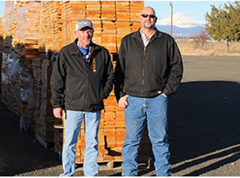 PAT KRUIS/MADRAS PIONEER - Site manager for the new Bright Wood operation in Culver, Walt Williams, left, and Adam Brown,s upport services manager for Bright Wood, were at the new site Tuesday morning.
