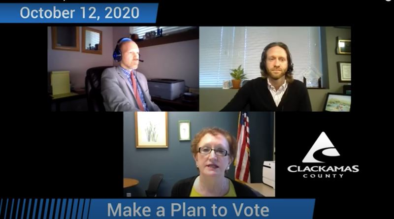 SCREENSHOT - YOUTUBE - Andrew Jones (top right), former Clackamas County elections manager, resigned his post nearly two weeks ago as the county was finalizing results from the Nov. 3 general election. The circumstances around Jones' departure from Clerk Sherry Hall's (bottom) office remain unclear.