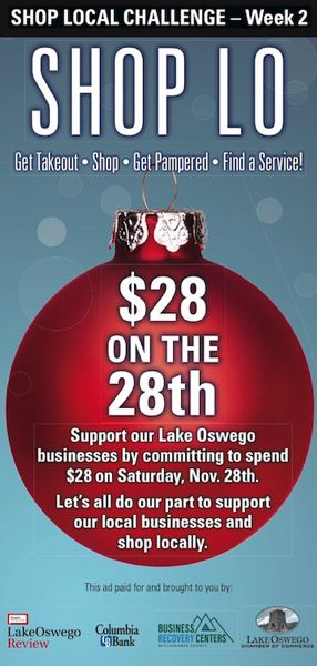 Shop local this Saturday by spending $28 on November 28th at a local business.