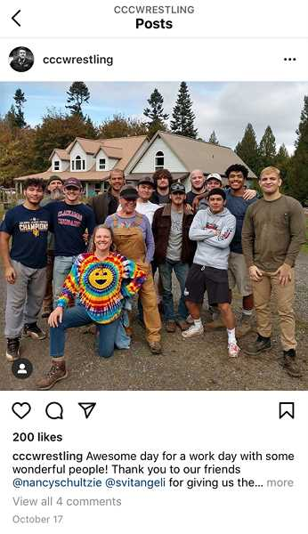 INSTAGRAM - A recent photo of the CCC wrestling team, unmasked and not practicing social distancing, was posted to their Instagram account Oct. 17.