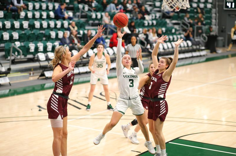 COURTESY PHOTO: PSU ATHLETICS/SCOTT LARSON - Senior point guard Kylie Jimenez (3) has started every game for the Vikings for the last three seasons.