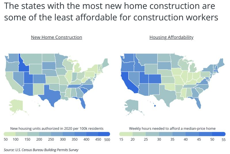 US CENSUS BUREAU  - You can build them but you can't live in them, especially out west.