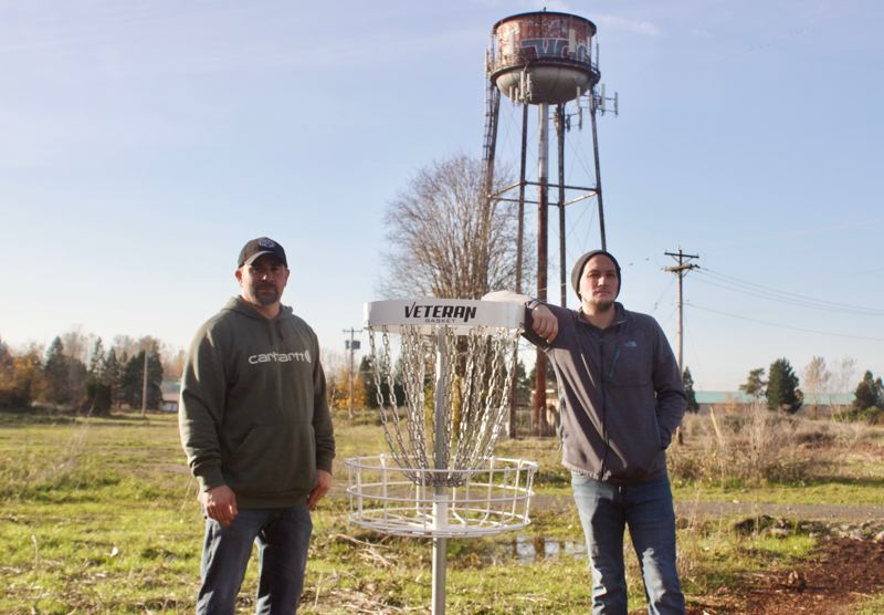 PMG PHOTO: CHRISTOPHER KEIZUR - Jason Hardin and Steve Zebrowski worked together to bring a new recreational activity to Troutdale with The Confluence Pop-up Course.