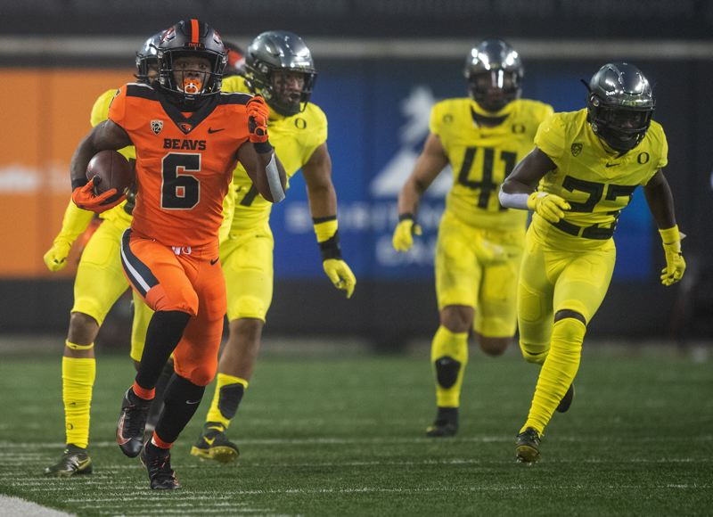 COURTESY PHOTO: KARL MAASDAM/OSU ATHLETICS - Jermar Jefferson had 226 yards and two scores on 29 carries in the OSU win.