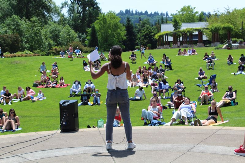 PMG PHOTO: ASIA ALVAREZ ZELLER - Mya Gordon addresses the crowd at the Lakeridge Equity Council Open Session at Foothills Park.