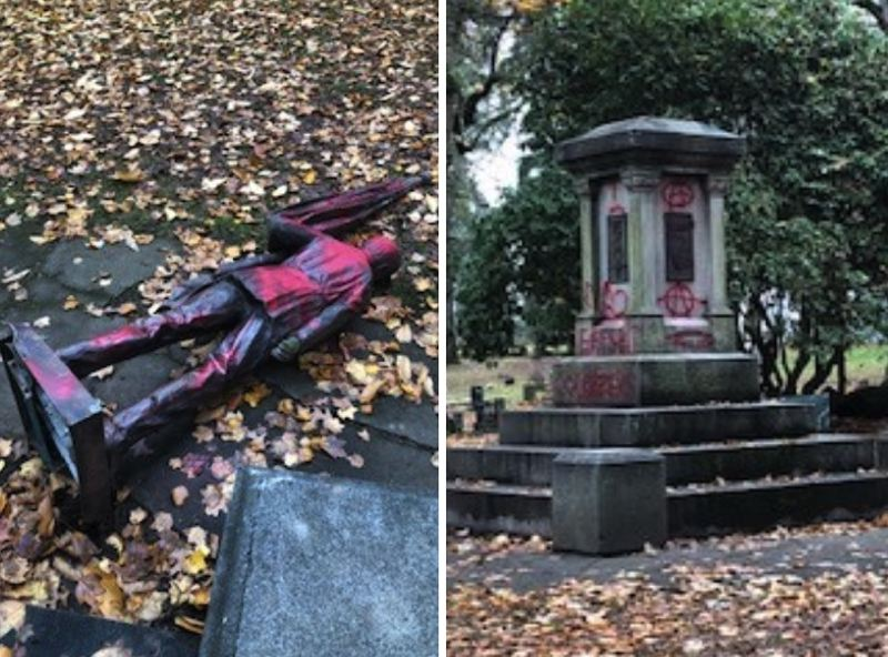 VIA PPB - A bronze statue known as The Soldiers Monument was toppled in Lone Fir Cemetery in Portland on Thanksgiving, police say.