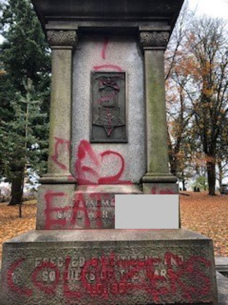 VIA PPB - Graffiti on the pedestal of The Soldiers Monument is seen here.