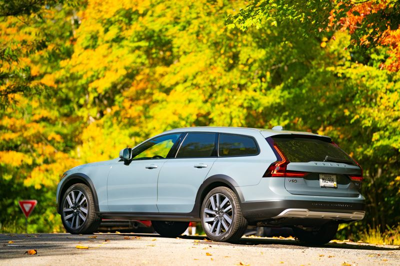 COURTESY VOLVO - Even the rear of the 2021 Volvo V90 Cross Country is attractive. And the increased ground clearance helps with mud, snow and deeply rutted neighborhood roads.