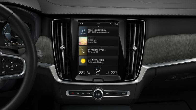 COURTESY VOLVO - The centerpiece of the interior of the 2021 Volvo V90 Cross Country T6 AWD is its 12.3-inch display screen.