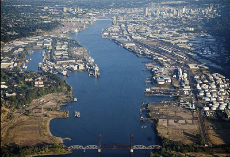COURTESY PHOTO: CITY OF PORTLAND - The Portland Harbor Superfund site through the industrialized areas of the city.