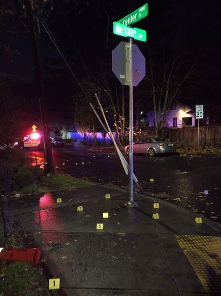 COURTESY PHOTO: PORTLAND POLICE BUREAU - This image shows the location of shell casings recorded in the Dec. 1 shooting.