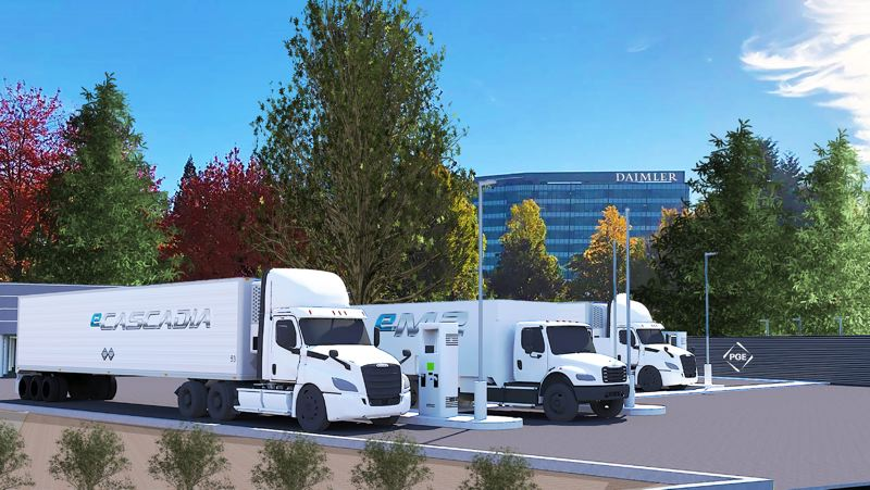 COURTESY PGE/DAIMLER TRUCKS NORTH AMERICA - This is an artist's rendering of 'Electric Island' being built outside of Daimler Trucks North America headquarters in Portland.