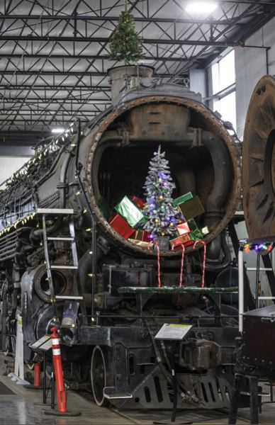 PMG PHOTO: JONATHAN HOUSE - All of the historical steam locomotives at the Oregon Rail Heritage Center are getting a holiday makeover for the Santa's Enginehouse exhibit, including the Spokane, Portland & Seattle 700,
