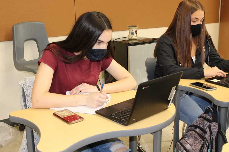 HOLLY SCHOLZ/MADRAS PIONEER  - Culver High School freshman Haylee Carroll attends class two hours each school day. Students use this time as a study hall and for elective classes.
