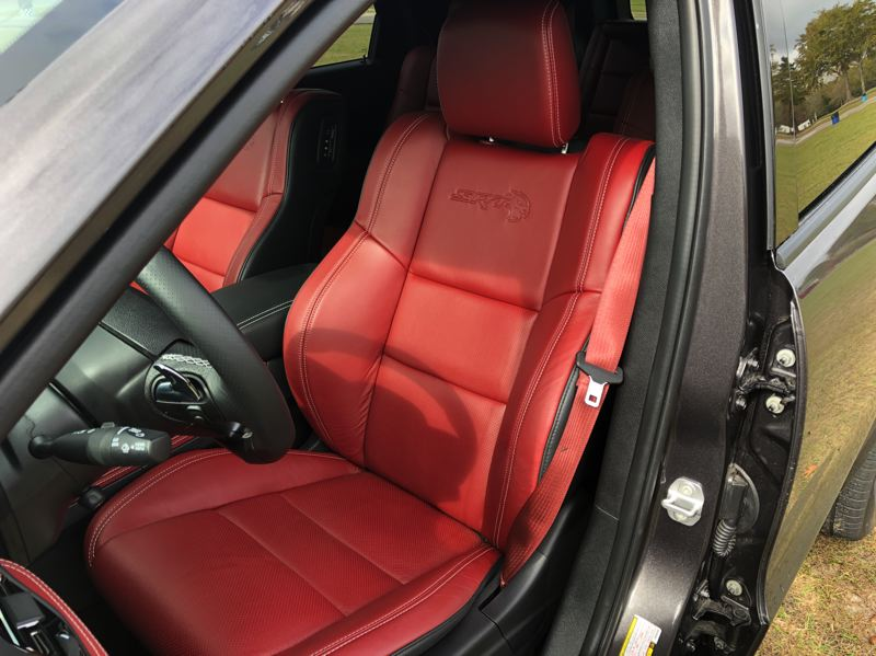 PMG PHOTO: JEFF ZURSCHMEIDE - The deeply contoured front buck seats in the 2021 Dodge Durange SRT Hellcat will help hold you in place during hard cornering.