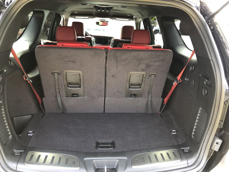 PMG PHOTO: JEFF ZURSCHMEIDE - The 2021 Dodge Durango SRT Hellcar has a lot of cargo space, even more with the third row of seats folded down.