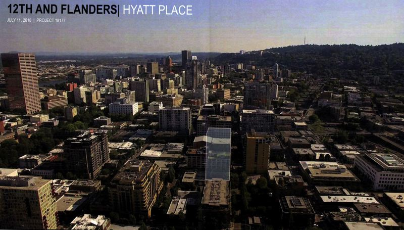 COURTESY: OTAK - The grey area marks the site of the future 23 story Hyatt Place hotel and condo tower in the Pearl District.