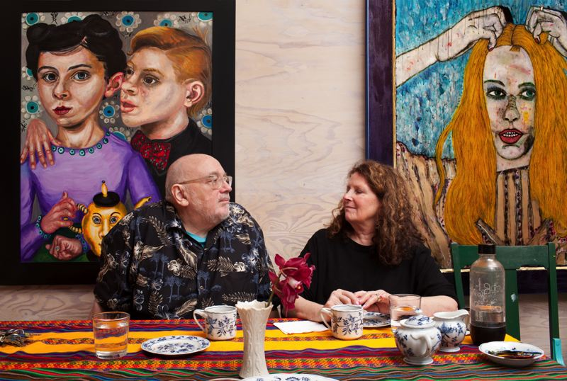 COURTESY PHOTO: AARON JOHANSON - Gregory Grenon and wife and fellow artist Mary Josephson (right) work in separate studios in Linnton — by design.