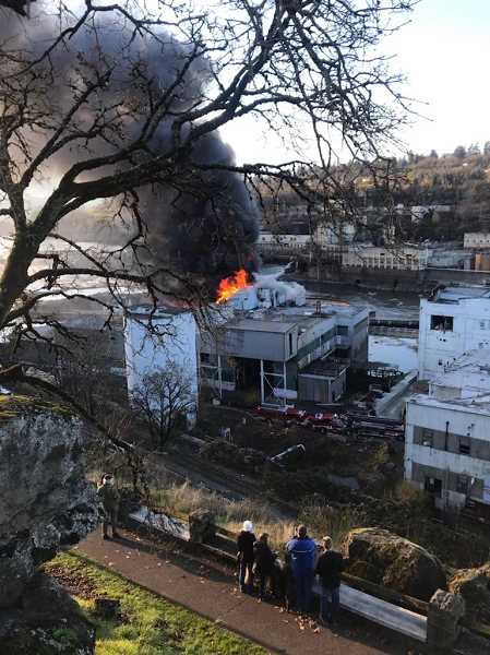 COURTESY PHOTO: JESSICA BELKNAP - People gather on Oregon City's McLoughlin Promenade that stretches along the bluff above the shuttered paper mill to watch the firefighters progress on Dec. 5.
