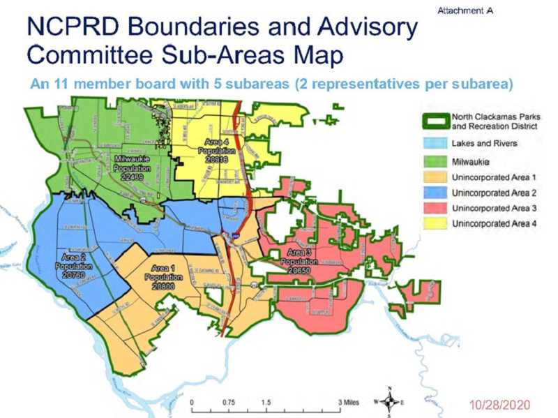COURTESY MAP - North Clackamas Parks & Recreation District's five district sub-areas are proportional in population using census tract data within NCPRD boundaries.