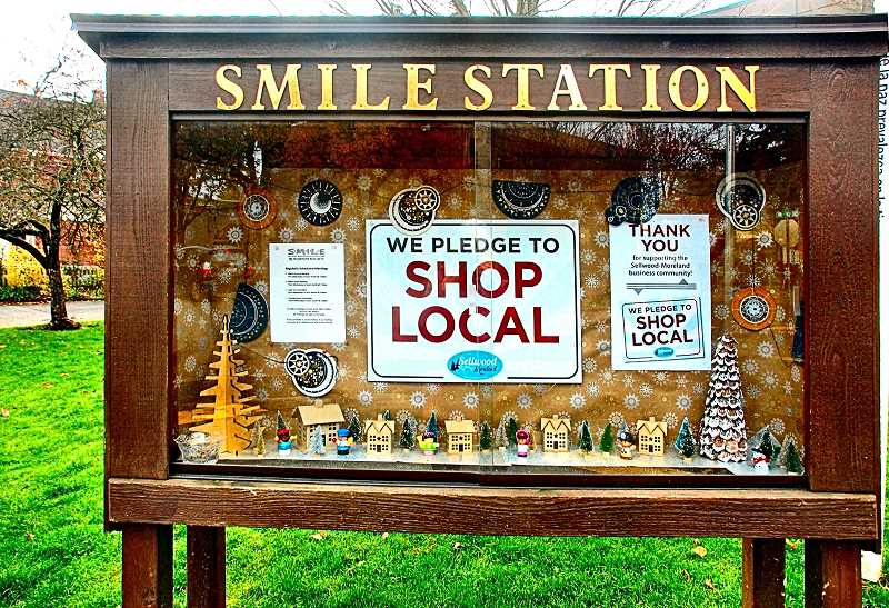 This Christmas diorama, at SMILE Station in Sellwood, was created and photographed by Juliana James, in support of SMBAs Shop Local campaign.