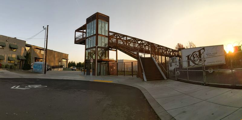 COURTESY PHOTO: LIAM GALLIVAN - The newly named Bob Stacey Crossing in Southeast Portland, with elevators and bike gutters.
