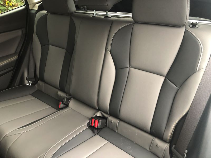 PMG PHOTO: JEFF ZURSCHMEIDE - The rear seats of the 2021 Subaru Crosstrek are surprisingly roomy for a compact crossover.