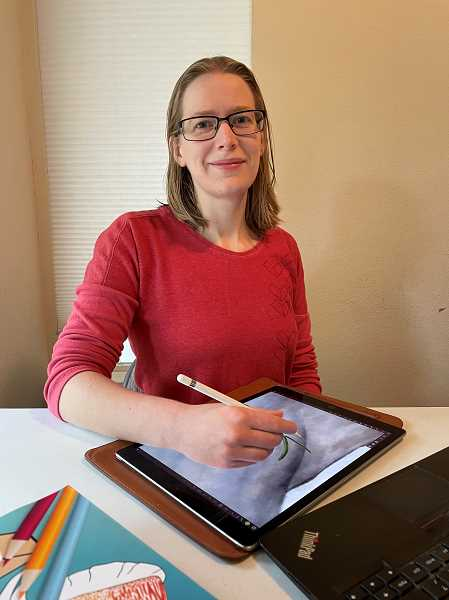COURTESY PHOTO: AUDREY SAUBLE - Portland-based childrens book author Audrey Sauble works on illustrations for her next project. Sauble just released her lates title, Shrimp, Shrimp, Cuttlefish, an educational childrens coloring book.