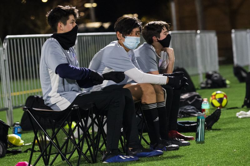 PMG PHOTO: JAIME VALDEZ - Players with Hillsboro Soccer Club wear masks during a scrimmage at 53rd Avenue Community Park on Dec. 3.