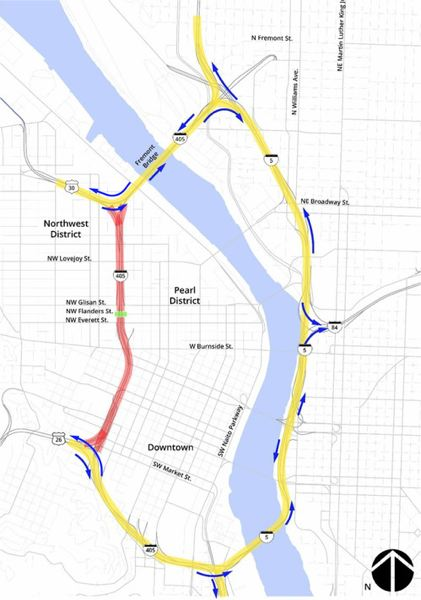 COURTESY: PORTLAND BUREAU OF TRANSPORTATION - A map of the detour route for the installation of Flanders Crossing the weekend of Jan. 8-10. During the I-405 closure, people driving will be directed to Interstate 5. Southbound I-405 traffic from the Fremont Bridge will be able to continue onto US30 and northbound I-405 will remain open onto US26, but no further. The exit to I-405 northbound from U.S. Highway 26 will be closed, with traffic directed instead to I-405 southbound and I-5 north.