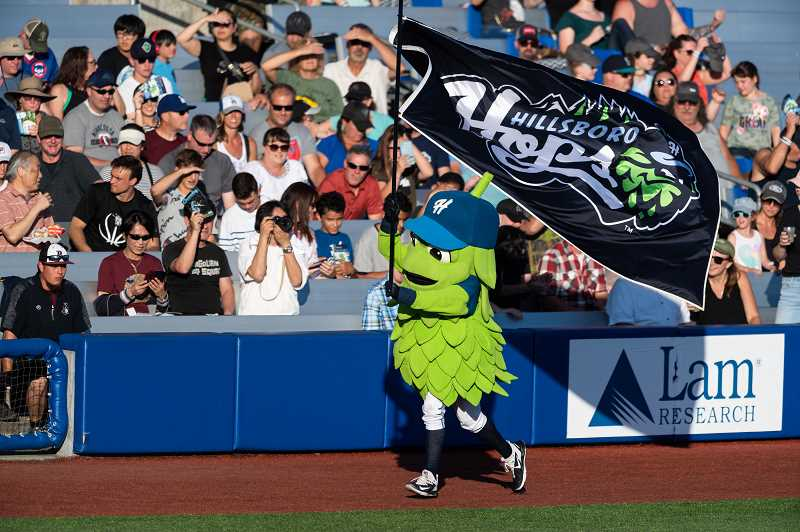 PMG FILE PHOTO: CHRISTOPHER OERTELL - The Hillsboro Hops mascot 'Barley' entertains fans during a Minor League Baseball game against the Eugene Emeralds at Ron Tonkin Field in Hillsboro on Saturday, July 20, 2019.