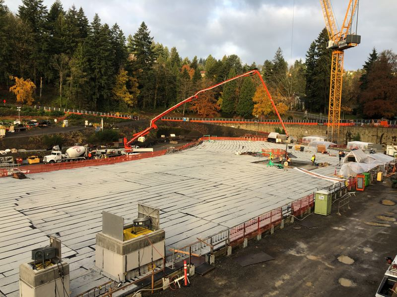 COURTESY PORTLAND WATER BUREAU - The top of the replacement Washington Park reservoir being completed on Monday, Dec. 7.