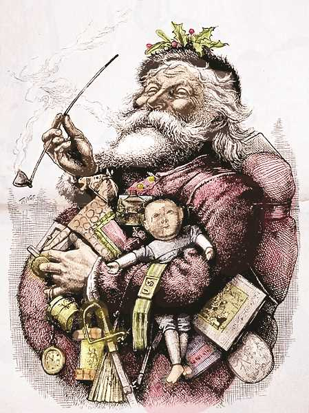 COURTESY ART: PUBLIC DOMAIN - In 1881, artist Thomas Nast captured the essense of Christmas in 'Santa's Portrait,' a painting publshed in Harper's Weekly magazine.