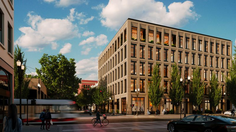 COURTESY:ZGF ARCHITECTS - The PAE Living Building behind the Pine Street Market food hall and Kell's Irish pub in downtown Portland will be built to Living Building standard, the hardest benchmark to achieve in energy efficiency.
