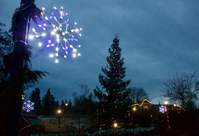 PMG PHOTO: CHRISTOPHER KEIZUR - Troutdales Mayors Square has festive lights and a Christmas tree.