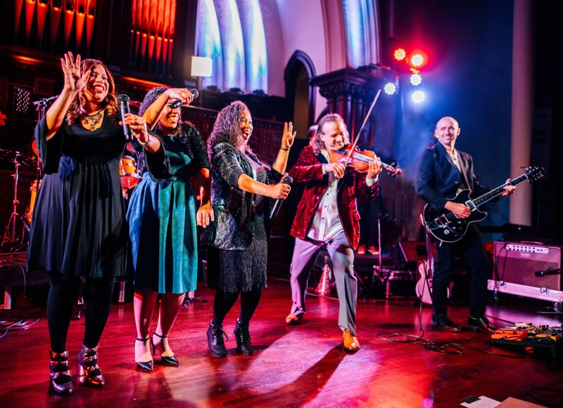 COURTESY PHOTO - The Brown Sisters join violinist Aaron Meyer for his Christmas TV special, Dec. 24-25.