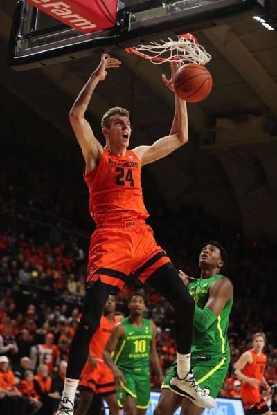 PMG FILE PHOTO - Former Oregon State University defensive specialist Kylor Kelley signed an Exhibit 10 contract with the San Antonio Spurs, earning a training camp invitation and opportunity to join the team this season.