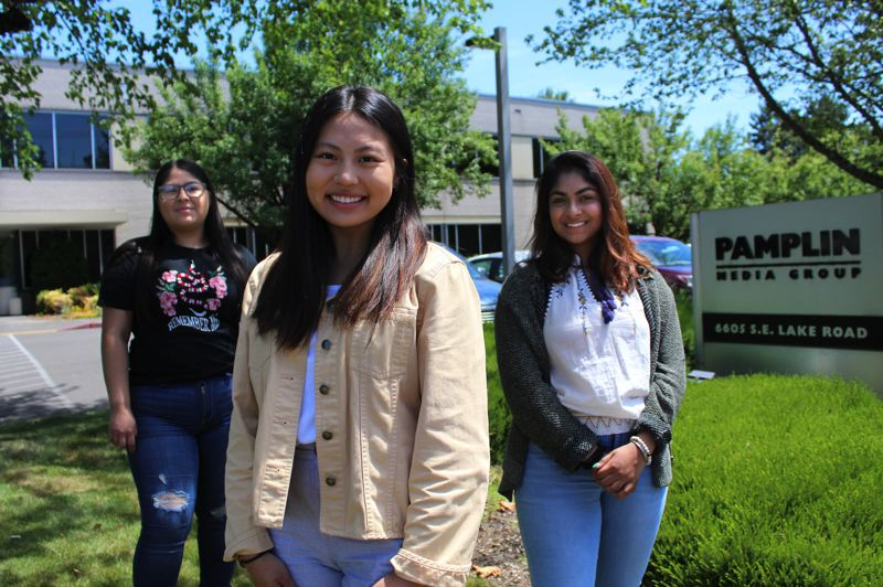 PMG PHOTO: JAIME VALDEZ - Pamplin's 2019 Amplify interns were, from left, Maria Pena Cornejo, Samantha Kar and Sangarika Ramachandran.