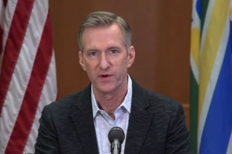 KOIN 6 NEWS - Mayor Ted Wheeler at the Monday morning press conference.