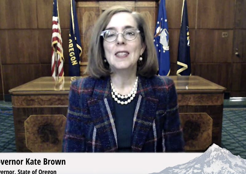 PMG PHOTO: JOSEPH GALLIVAN - Gov. Kate Brown, speaking via video conference call to the Oregon Business Summit, announces a series of tax breaks to help Oregonians get through the pandemic.