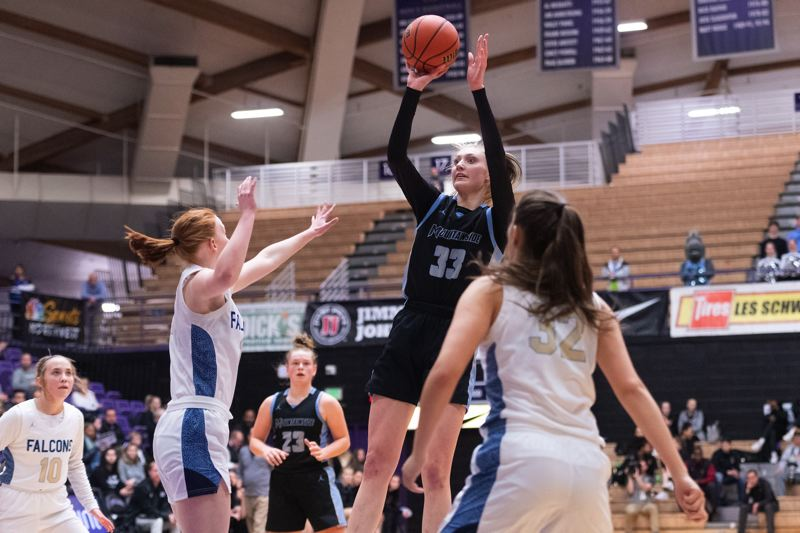 PMG FILE PHOTO - Mountainside's Cameron Brink shoots the ball during the quarterfinals of the OSAA 6A state girls basketball championship at the Chiles Center on the campus of the University of Portland on March 11. Play was halted the next day.