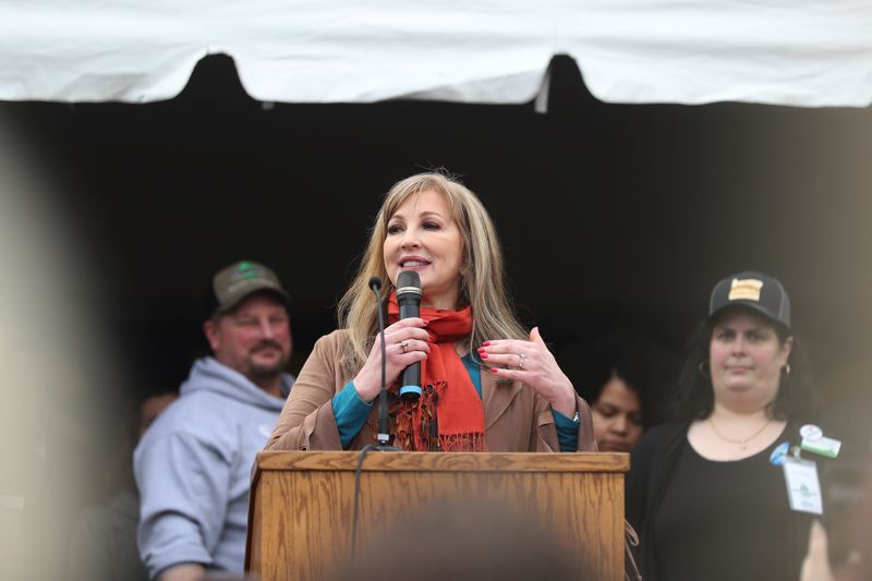 PMG PHOTO: JAIME VALDEZ - State Sen. Kim Thatcher, seen announcing her candidacy for secretary of state in February, signed onto an effort to get the U.S. Supreme Court to throw the presidential election to Donald Trump, who lost 306-232 in the Electoral College.