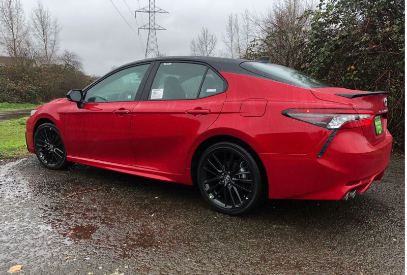 PMG PHOTO: JEFF ZURSCHMEIDE - The all-wheel-drive version of the 2021 Toyota Camry is not only ideal for wet eather driving, but striking looking, too.