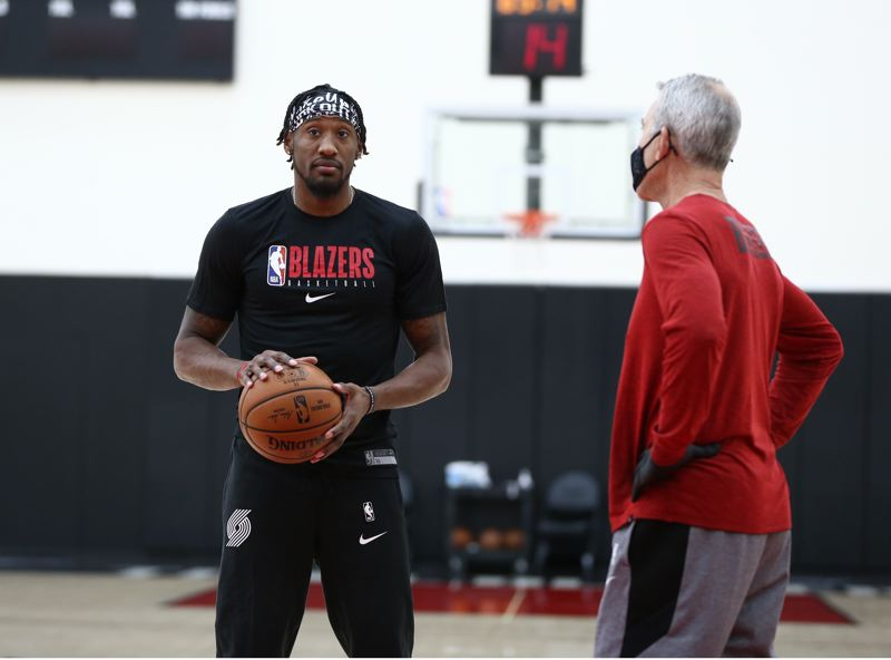 COURTESY PHOTO: BRUCE ELY/TRAIL BLAZERS - Portland's Robert Covington, seen here at practice this week, hit three 3-pointers and scored 15 points Wednesday at Denver.
